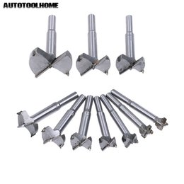 wholesale hole saws UK - Drill Bits AUTOTOOLHOME 10PC 14-50mm Forstner Auger Drill Bit Set Wood Drilling Woodworking Hinge Hole Saw Window Wooden Cutting Tool