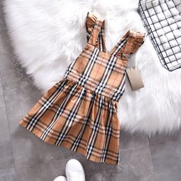 Product Brand Color Australia - Girls Ruffle Suspender Plaid Dresses Summer 2019 England Classic Style 4-8Y Girls Sleeveless Checker Dresses Special Products