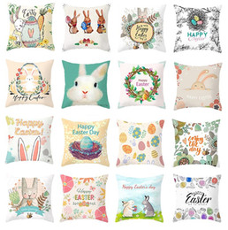hunting decor 2020 - Easter Bunny Rabbit Eggs Hunt Pillowcase 45*45cm Cushion Pillow Cover Easter Day Chocolate Egg Chicken Easter Decoration