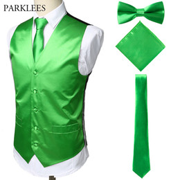 pockets bow wedding dress 2019 - Satin Stage Vest Men(Suit Vest+Tie+Pocket Square+bow tie)4 Pieces Mens Sleeveless Wedding Dress Vests Gilet Tuxedo Waist