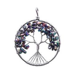 Discount wire wrapped tree life - 10Pcs Rainbow Titanium Coated Quartz Crystal Stone Chips Tree of Life Pendants Handmade Wire Wrapped Rainbow Metallic Au