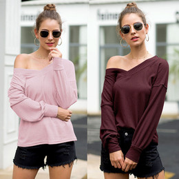 loose off shoulder shirts Canada - T Neck Solid V Pink Shirts Long Shoulder Color Tops T Shirt Autumn Loose Off Women Clothes Black Sleeve Blue Drop Ship 220221 Pvopc