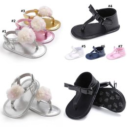 Girl Sneakers Australia - Summer Newborn Baby Girls Fur Ball Bow Sandals Non-slip Crib Shoes Soft Sole Shoes Prewalkers Toddler Sneakers