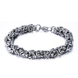 Men 7mm Silver Chains UK - 7mm Silver Color Fashion Simple Men's Chain Bangle Stainless Steel Bracelet Watchband Jewelry Gift for Men Boys J011