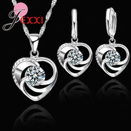 $enCountryForm.capitalKeyWord NZ - JEXXI Top Quality 925 Pure Original Silver Wedding Jewelry Set Necklace Earrings For Women Crystal Heart LOVE Anniversary Gift