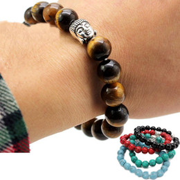 Turquoise Tiger eye braceleT online shopping - Newest Fashion mm Tiger Eye Beads Buddha Men Bracelets Prayer Chakra Healing Meditation Turquoise Natuarl Stone Yoga Women Jewelery