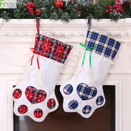 wholesale christmas gift NZ - Plaid Christmas Gift Bags Christmas Decorations Gift Bags Pet Dog Cat Stockings Tree Ornaments New Year