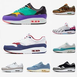 running shoes max 87 Australia - 2019 New Arrival 1 87 DLX Air ATMOS Casual Shoe Animal Pack 1s parra Leopard gra Men Maxes Women Classic Athletic Zapatos Trainers