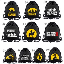 Woman Fans Australia - Game Red Dead Redemption Canvas Backpack Teenager Fans Cosplay Drawstring Bag Men Women Drawstring Pocket Boys Girls Students Schoolbag
