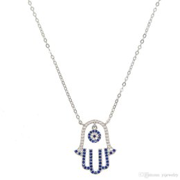 $enCountryForm.capitalKeyWord Australia - 2018 lucky turkish 925 sterling silver dangle evil eye charm Pave blue white cz Hamsa hand Fatima's hand pendant necklace