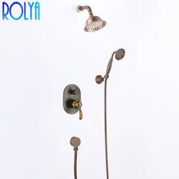 $enCountryForm.capitalKeyWord Australia - Rolya Antique Brass Concealed Waterfall Bathroom Shower Set Vintage in wall shower Mixer faucet Old Style