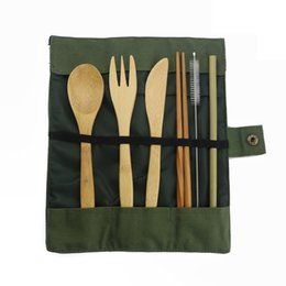 Kitchen Cloth Set Australia - 7-piece Japanese Wooden Cutlery Bamboo Straw Dinnerware Set With Cloth Bag Utensil Soup Kitchen Cooking Tools Dropshipping C19042101