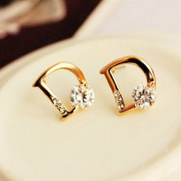D shapeD jewelry online shopping - D Shaped Designer Earrings Asymmetric Women Earrings Wild Hoop Earrings Rhinestone Fashion Earring Luxury Jewelry Factory