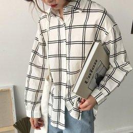 $enCountryForm.capitalKeyWord Australia - KYMAKUTU Loose Plaid Blouses for Women Clothing All Match Soft Chemisier Femme Casual Fashion Ladies Shirts 2 Colors Tops