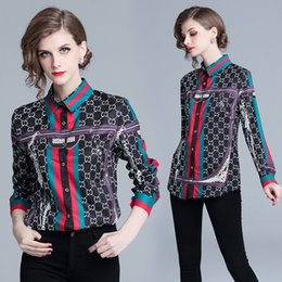 Wholesale New Hot Spring Runway Classic Luxury Print Women s Blouses OL Ladies Casual Office Button Front Lapel Neck Long Sleeve Slim Shirts Tops
