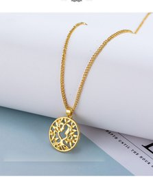 $enCountryForm.capitalKeyWord Australia - Tree of Life Round Alloy Small Pendant Necklace Carved Gold Silver Colors Bijoux Collier Elegant Women Jewelry Gifts Dropshipping