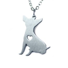 stainless steel square link chain UK - Stainless Steel Chihuahua Silhouette Square Dog Tag Pet Charm Pendant Necklace gift for her