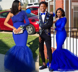 $enCountryForm.capitalKeyWord Australia - Sexy Royal Blue One Shoulder South African Prom dresses With Long Sleeves Appliqued Custom Made Formal Dresses Evening Wear
