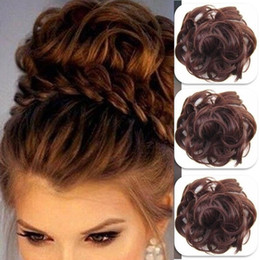 synthetic twist Hair piece Scrunchie Fake Curly Bun Elastic Band Updo Braidal Hair Piece brown blonde color Synthetic top knot for woman on Sale