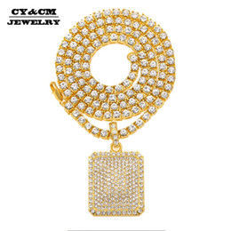 $enCountryForm.capitalKeyWord Australia - Full Iced Out Rhinestone Gold Silver Square Dog Army Tag Pendant Tennis Chain Hip Hop Bling Necklace Jewelry Necklaces for Mens