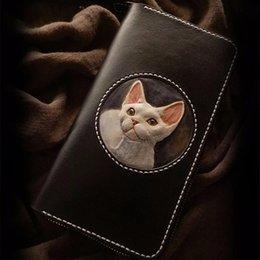 Handmade leatHer ladies wallets online shopping - Handmade Ladies Lovely Cat Wallets Purses Women Long Clutch Vegetable Tanned Leather Devon Rex Wallet Card Holder Present
