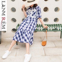 ruffled bottom dresses NZ - LANMREM 2019 new summer fashion women vintage clothes turn-down collar short sleeves plaided ruffles bottoms straight dress WG59