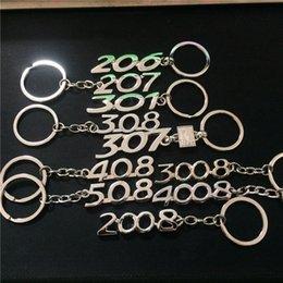 Ingrosso Portachiavi in metallo con logo per auto 206 207 301 307 308 408 508 2008 3008 4008 Portachiavi Portachiavi Anello Fob Corda Regalo per Peugeot
