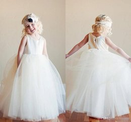 Dress For Babies First Birthday Australia - Simple Ivory Ball Gown Flower Girl Dresses for Wedding Jewel Neck Sleeveless Floor Length Tutu Cheap Baby Child First Holy Communion