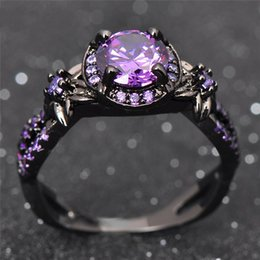 Amethyst Cz Australia - Victoria Wieck choucong Vintage Fashion Jewelry 10KT Black Gold Filled Round Cut Amethyst Gemstones CZ Diamond Party Women Wedding Ring Gift