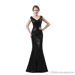 $enCountryForm.capitalKeyWord UK - 2018 Black Sequined Evening Dress Mermaid Lace Sheer Back Bling Bling Elegant Evening Gowns Robe De Soiree SE6604