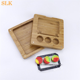 bamboo oils Australia - Uinque Design Wooden Colors Silicone Jar and 15*10inch bamboo rolling tray Smoking Oil Wax Container for distributors