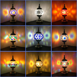 $enCountryForm.capitalKeyWord NZ - Newest E14 Hand-inlaid glass mosaic bedroom living room decorative Table Lamps of Mediterranean style Turkish Lamps