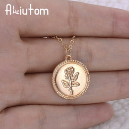 $enCountryForm.capitalKeyWord Australia - Gold Alloy Round Pendant Necklace For Women Simple Female Long Chain Coin Necklace Rose Fashion Necklace A Direct Sale