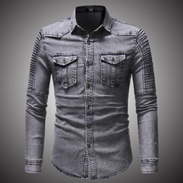 $enCountryForm.capitalKeyWord Australia - 2018 Spring Autumn High Quality Denim Shirt Men Casual Long Sleeve Fit Slim Personality Pocket Black Blue Hombre Blouse D2868 T2190608