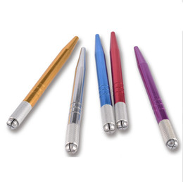 Stylo manuel de sourcil 100pcs / Lot DHL pour Microblading Tattoo Stylo à tête unique Microblading Pen avec 2 étuis de micro-lames
