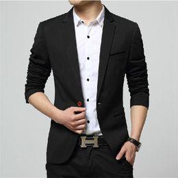 Male Fashion Suits Australia - 2019 Mens Korea Slim Fashion Blazers Suit Jacket Male Casual Plus size Coat Wedding dress Black Sea blue Wine Red Suit coat men