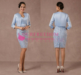 $enCountryForm.capitalKeyWord Australia - 2019 Elegant Light Sky Blue With Jacket Mother Of The Bride Dresses Sheath Short Mini Lace Satin Mother Of The Bride Suits Formal Dresses