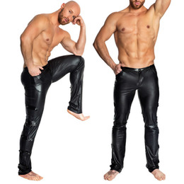 Chinese  Men Sexy Black Wetlook Pvc Stage Fetish Faux Leather Pencil Pants Skinny Latex Leggings Erotic Gay Pole Dance Club Wear C19031601 manufacturers