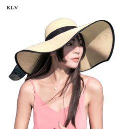 Black Blocks Australia - KLV Summer Straw Sun Visor Hat Color Block Patchwork Trim Wide Brim Bucket Cap Linen Ribbon Bowknot Adjutable Foldable Beachwear
