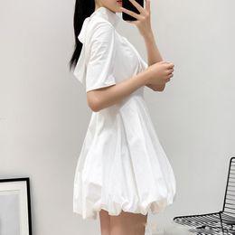 4c3828501 Elegante Vestido de Cuello Alto para Mujer Media Manga Cintura Alta Lace Up  Mini Bud Vestidos Mujeres Moda Coreana 2019 Primavera