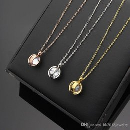 Necklaces Pendants Australia - Fashion Style Men Women Wholesale Trendy Necklace 316L Stainless Steel Luxury Brand Jewelry Couple Female Love Pendant Necklace with Stone
