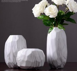 Folding Art Table NZ - Nordic style imitation marble ceramic vase living room table flower floral decoration ornament