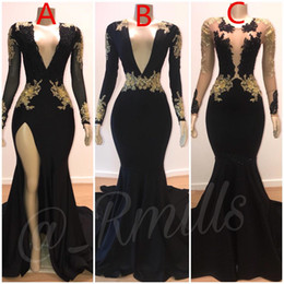 Wholesale 2019 Prom Dresses Mermaid Sexy Gold Lace Applique V Neck Long Sleeves Illusion High Side Split Sweep Train Elegant Evening Formal Gowns