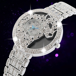 Fashion Leopard Watches Australia - Creative Leopard Pattern Dial Wristwatch for Women Luxury Diamond-encrusted Quartz Analog Watch Premium Alloy Strap Watches for Ladie
