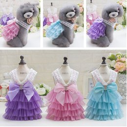 pet tutus Australia - Free Shipping Hot Strap layered skirt Pet Summer Dogs Harness Skirt Clothes Small Dog Dress Pet Tutu Dress Wedding Dress