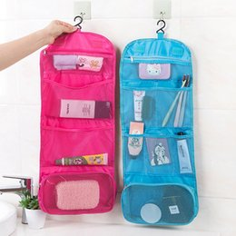 Discount wall mounted storage bags - 1PC Multifunctional Folding Travel Storage Bag Wall Mounted Hanging Cosmetic Bag Makeup Organizer Pouch Sundries Case