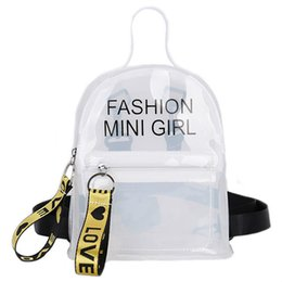 Discount fashion mini backpacks Free Shipping Clear Backpack Women's Mini Transparent Waterproof PVC Jelly Shoulder Bag Girls Student Casual Daypac