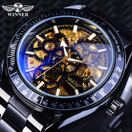$enCountryForm.capitalKeyWord Australia - Forsining Men's Mechanical Watches With Automatic Wind Black Golden Skeleton Clock Bracelet For Men Waterproof Relogio Masculino J190614