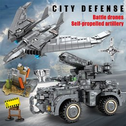 swat blocks NZ - SEMBO BLOCK SWAT Military Drone Aircraft Car Building Blocks Technic WW2 Fighter Plane Army Figures Sets Movie Model Bricks Toys For Boys