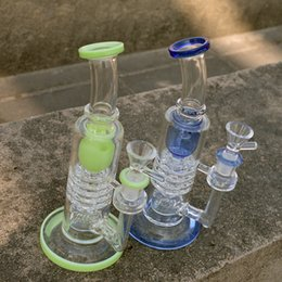 Discount double barrel bong - New Oil Dab Rigs Torus Glass Bongs Ratchet Perc Barrel Perc Inverted Showerhead Water Bongs Thick Glass Bong Double Recy